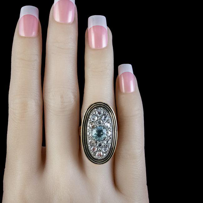 Antique Georgian Diamond Aquamarine Mourning Ring