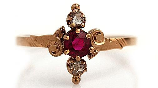 Antique Ruby & Diamond Engagement Ring