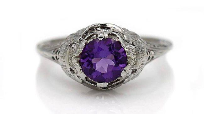 Art Deco Amethyst Engagement Ring