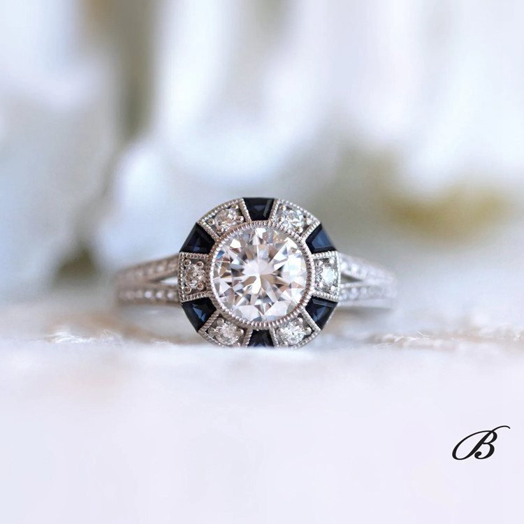 Art Deco Blue Sapphire Engagement Ring
