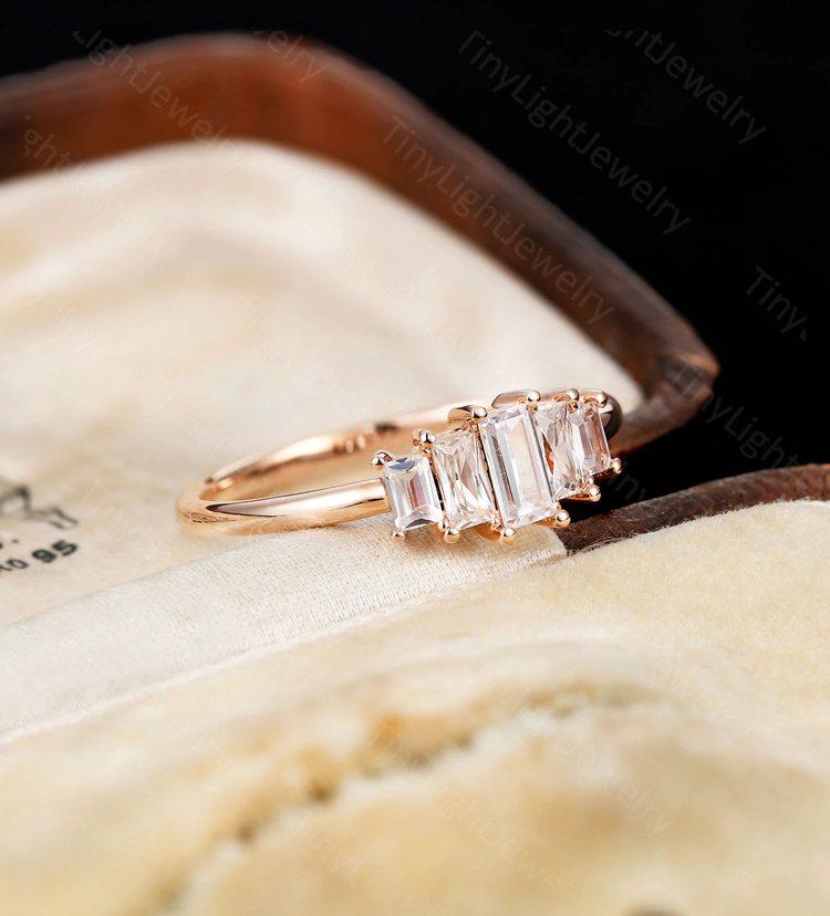 Art Deco Engagement Ring Baguette Moissanite