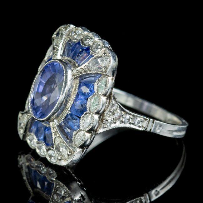 Art Deco French Sapphire Diamond Ring
