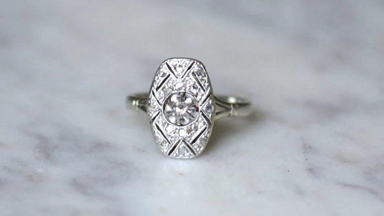 Art Deco Gold & Platinum Engagement Ring
