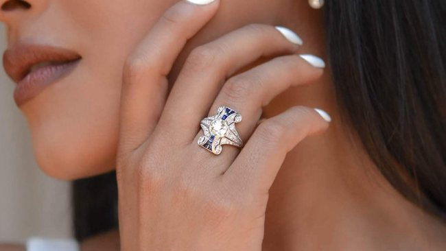 Art Deco Old European-Cut Diamond & Sapphire Engagement Ring