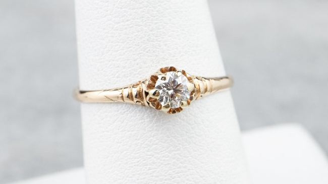 Diamond Buttercup Engagement Ring