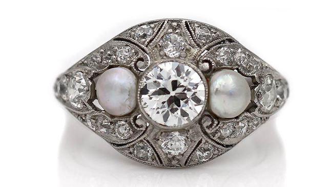 Edwardian Diamond & Pearl Engagement Ring