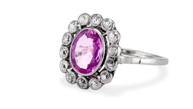 Edwardian Oval Cut Pink Sapphire Ring