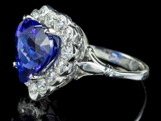 Edwardian Style Tanzanite Diamond Heart Ring
