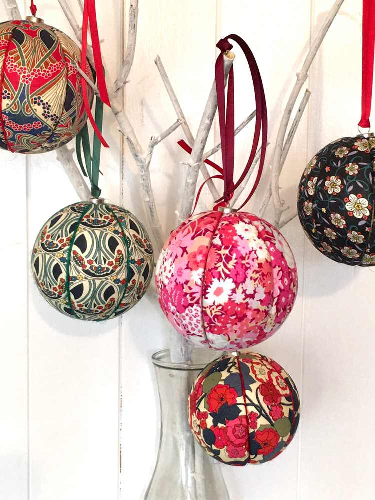 Fabric Covered Christmas Baubles