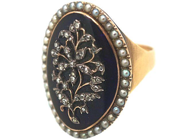 Georgian Gold & Diamond Oval Ring