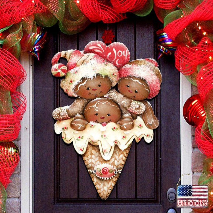 Gingerbread Wooden Door Hanger