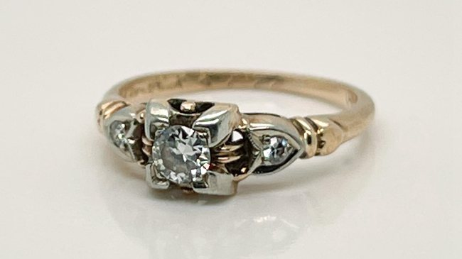 Gold & Diamond Retro Engagement Ring