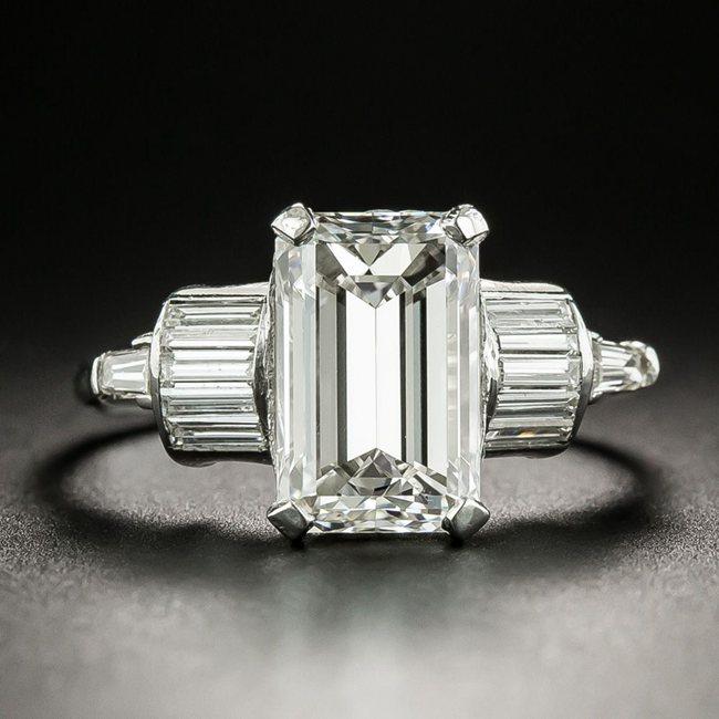 Mid-Century Emerald Cut Engagement Ring