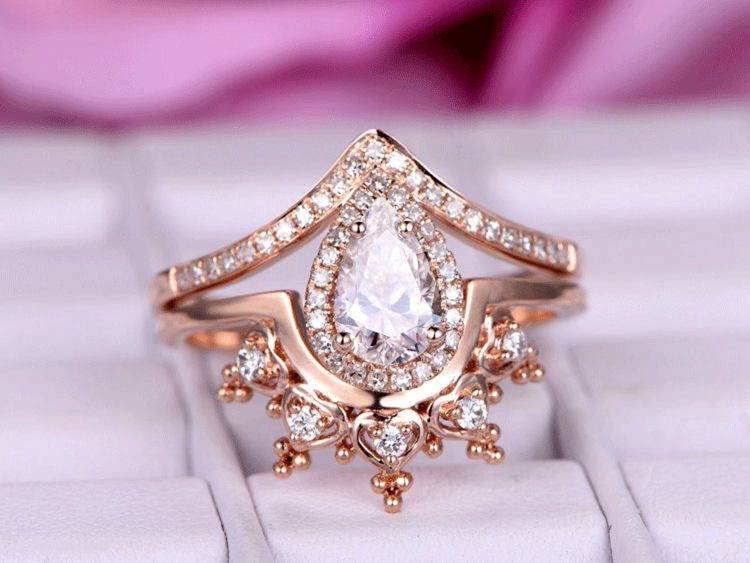 Pear Shaped Moissanite Engagement Ring