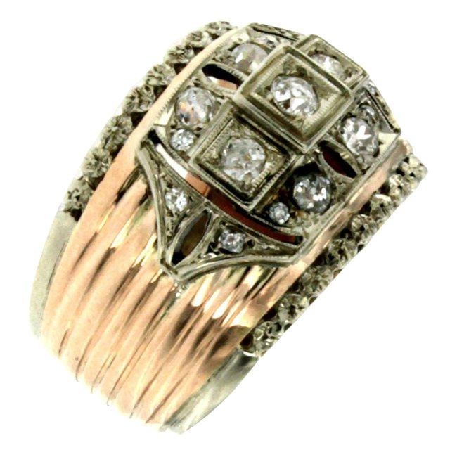 Retro Diamond Bicolor Gold Band Ring