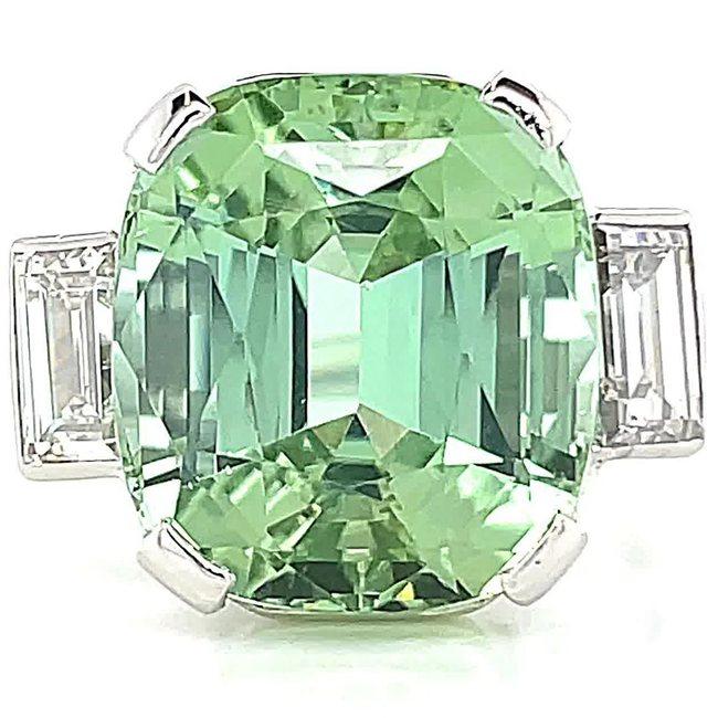 Retro Mint Green Tourmaline Diamond Cocktail Ring