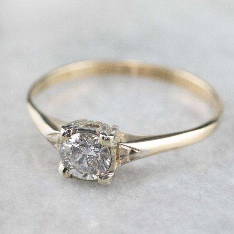 Two-Tone Round Moissanite Diamond Retro Era Engagement Ring