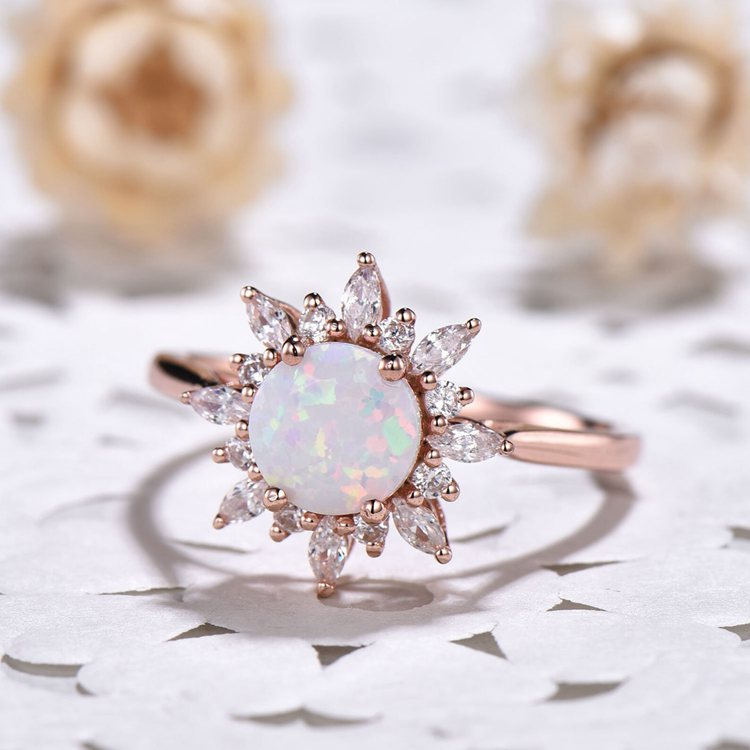 White Fire Opal Rose Gold Engagement Ring