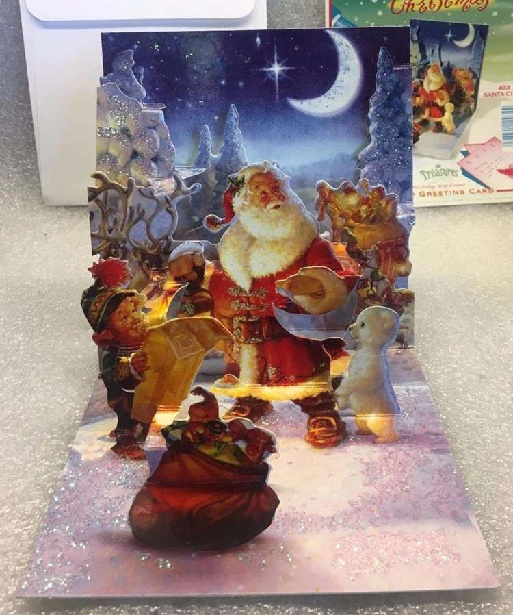 3D Pop-Up Vintage Christmas Card