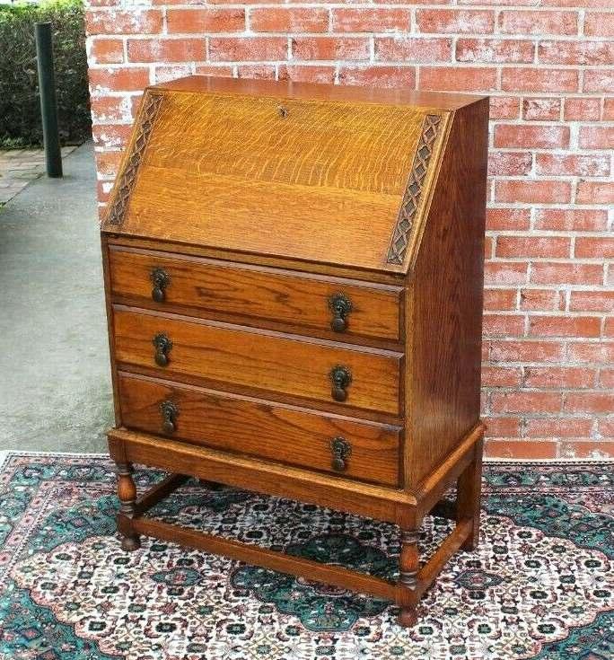 English Antique Oak Edwardian Front Drop Desk