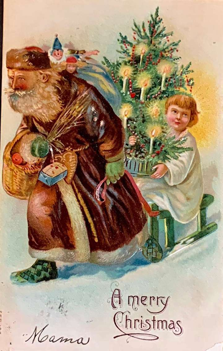 Rare Antique Embossed Christmas Card