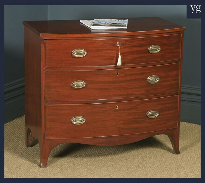 Small Antique English Georgian Regency Mahogany Bow Front Chest of Drawers