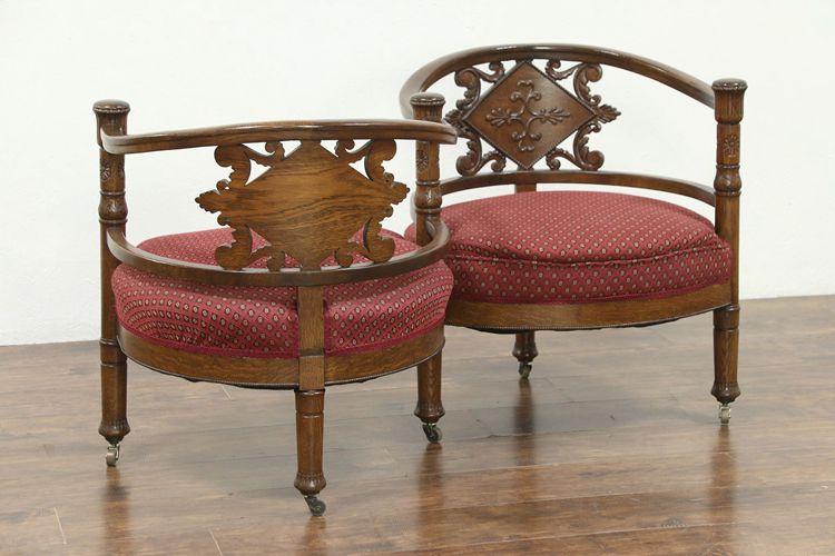 Tete a Tete Antique 1895 Oak S Shape Double Chair Sofa