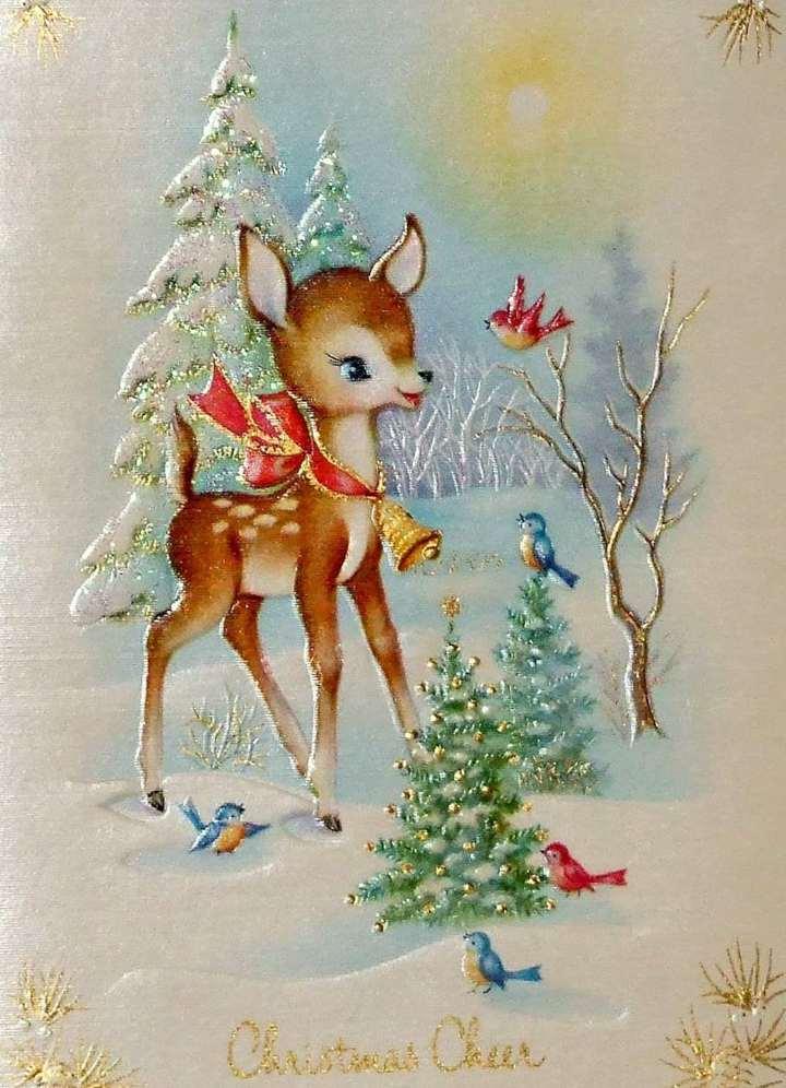 Vintage Christmas Card Aluminum Print
