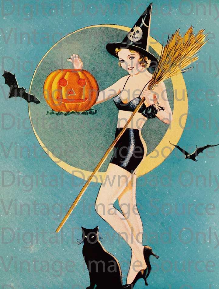Vintage Halloween Pin-up Girl