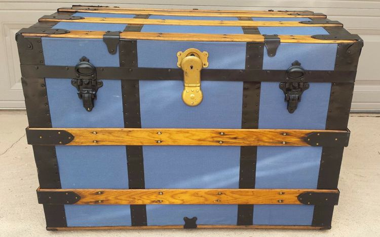 antique steamer trunk-canvas and wood